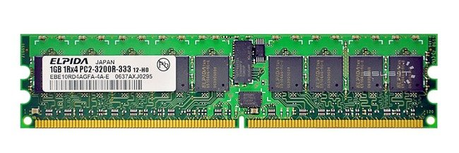 Memory RAM 1x 1GB ELPIDA ECC REGISTERED DDR2  400MHz PC2-3200 RDIMM   EBE10RD4AGFA-4A-E